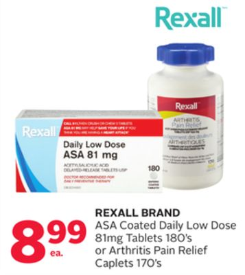 Rexall Brand Asa Coated Daily Low Dose 81mg Tablets 180's or Arthritis Pain Relief Caplets 170's