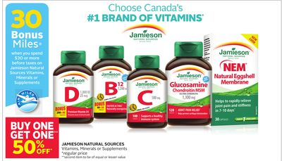 Jamieson Natural Sources Vitamins - Minerals or Supplements - 30 Bonus Air Miles Reward Miles