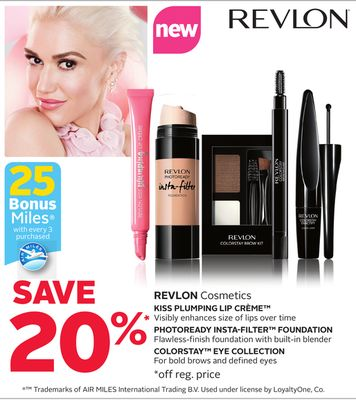 Revlon Cosmetics - 25 Bonus Air Miles Reward Miles