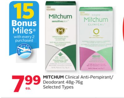 Mitchum Clinical Anti-perspirant/ Deodorant - 15 Bonus Air Miles Reward Miles
