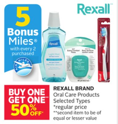 Rexall Brand Oral Care Products - 5 Bonus Air Miles Reward Miles