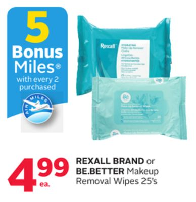 Rexall Brand or Be.better Makeup Removal Wipes - 5 Bonus Air Miles Reward Miles