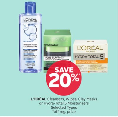 L'oréal Cleansers - Wipes - Clay Masks or Hydra-total 5 Moisturizers