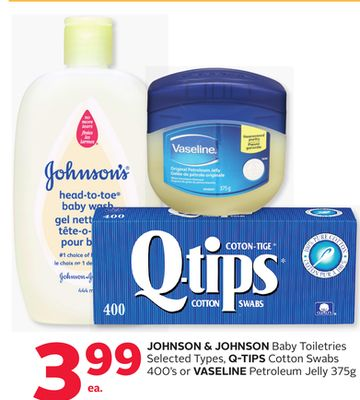 Johnson & Johnson Baby Toiletries Selected Types - Q-tips Cotton Swabs 400's or Vaseline Petroleum Jelly 375g