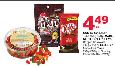 Nosh & Co. Candy Tubs 454g-550g - Mars - Nestlé or Hershey's Bagged Chocolate 132g-275g or Cadbury Marvellous Mixes 150g-200g or Sharing Chocolate Bars 200g