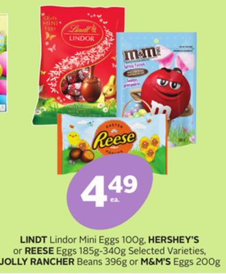 Lindt Lindor Mini Eggs 100g - Hershey's or Reese Eggs 185g-340g Selected Varieties - Jolly Rancher Beans 396g or M&m's Eggs 200g