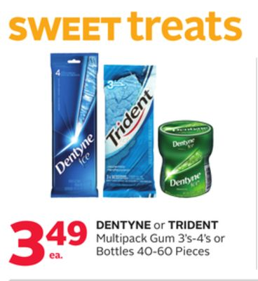 Dentyne or Trident Multipack Gum 3's-4's or Bottles 40-60 Pieces