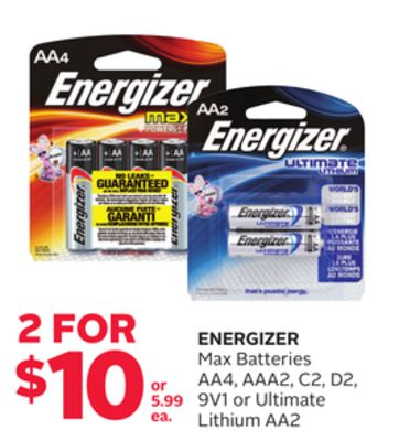 Energizer Max Batteries Aa4 - Aaa2 - C2 - D2 - 9v1 or Ultimate Lithium Aa2