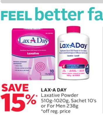 Lax-a Day Laxative Powder 510g-1020g - Sachet 10's or For Men 238g