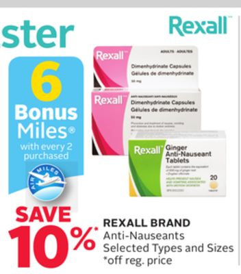 Rexall Brand Anti-nauseants -6 Bonus Air Miles Reward Miles