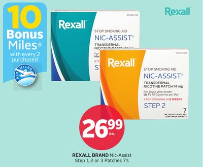Rexall Brand Nic-assist Step 1 - 2 or 3 Patches 7's - 10 Bonus Air Miles Reward Miles