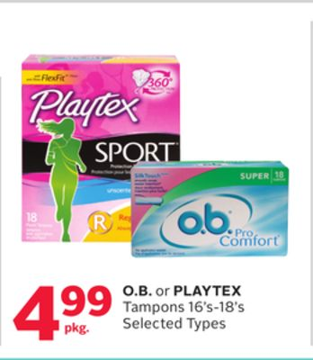 O.b. or Playtex Tampons 16's-18's