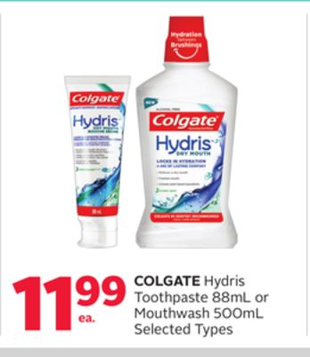 Colgate Hydris Toothpaste 88ml or Mouthwash 500ml