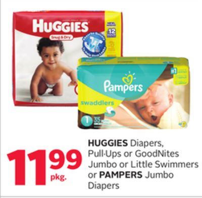 Huggies Diapers - Pull·ups or Goodnites Jumbo or Little Swimmers or Pampers Jumbo Diapers