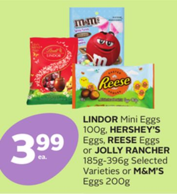Lindor Mini Eggs 100g - Hershey's Eggs - Reese Eggs or Jolly Rancher 185g-396g or M&m's Eggs 200g