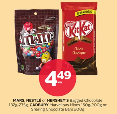 Mars - Nestlé or Hershey's Bagged Chocolate 132g-275g - Cadbury Marvellous Mixes 150g-200g or Sharing Chocolate Bars 200g