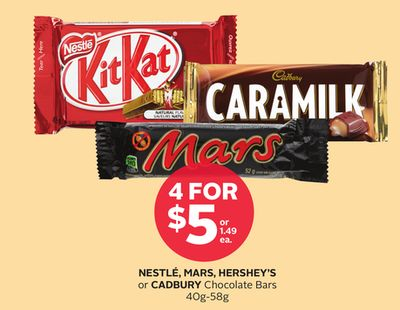 Nestlé - Mars - Hershey's or Cadbury Chocolate Bars 40g-58g