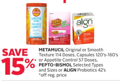 Metamucil Original or Smooth Texture 114 Doses - Capsules 120's-160's or Appetite Control 57 Doses - Pepto-bismol Selected Types and Sizes or Align Probiotics 42's