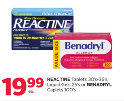 Reactine Tablets 30's-36's - Liquid Gels 25's or Benadryl Caplets 100's