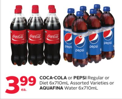 Coca-cola or Pepsi Regular or Diet 6x710ml or Aquafina Water 6x710ml