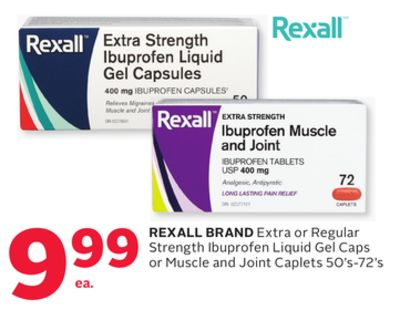 Rexall Brand Extra or Regular Strength Ibuprofen Liquid Gel Caps or Muscle and Joint Caplets 50's-72's