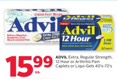 Advil Extra - Regular Strength - 12 Hour or Arthritis Pain Caplets or Liqui-gels 40's-72's