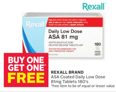 Rexall Brand Asa Coated Daily Low Dose 81mg Tablets 180's