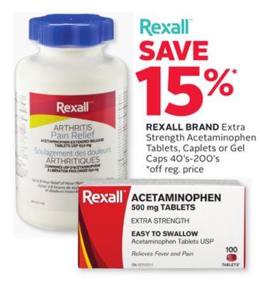 Rexall Brand Extra Strength Acetaminophen Tablets - Caplets or Gel Caps 40's-200's
