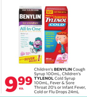 Children's Benylin Cough Syrup 100ml - Children's Tylenol Cold Syrup 100ml - Fever & Sore Throat 20's or Infant Fever - Cold or Flu Drops 24ml