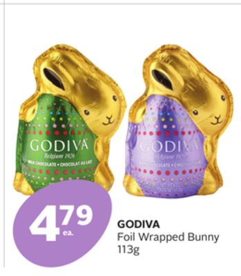 Godiva Foil Wrapped Bunny