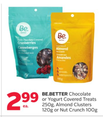 Be.better Chocolate or Yogurt Covered Treats 250g - Almond Clusters 120g or Nut Crunch 100g