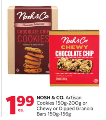 Nosh & Co. Artisan Cookies 150g-200g or Chewy or Dipped Granola Bars 150g-156g