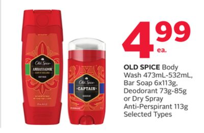 Old Spice Body Wash 473 mL - 532 mL - Bar Soap 6x113g - Deodorant 73g-85g or Dry Spray Anti-perspirant 113g
