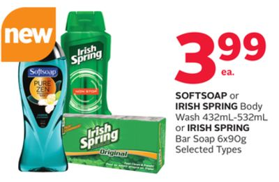 Softsoap or Irish Spring Body Wash 432ml-532ml or Irish Spring Bar Soap 6x90g