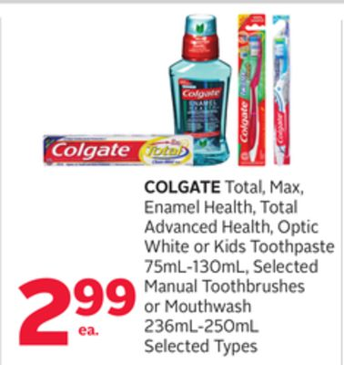 Colgate Total - Max - Enamel Health - Total Advanced Health - Optic White or Kids Toothpaste 75ml-130ml - Selected Manual Toothbrushes or Mouthwash 236ml-250ml