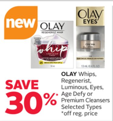 Olay Whips - Regenerist - Luminous - Eyes - Age Defy or Premium Cleansers
