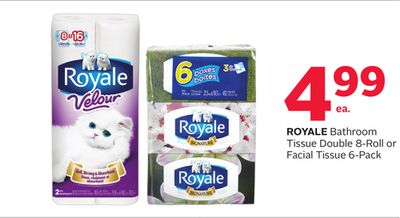 Royale Bathroom Tissue Double 8-roll or Facial Tissue 6-pack