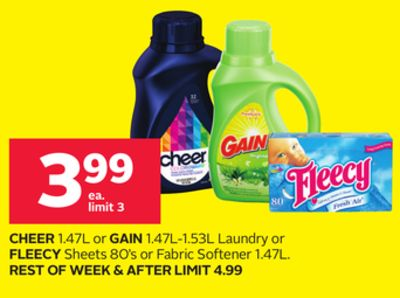 Cheer 1.47l or Gain 1.47l-1.53l Laundry or Fleecy Sheets 80's or Fabric Softener 1.47l.