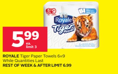 Royale Tiger Paper Towels 6=9