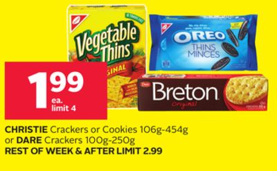 Christie Crackers or Cookies 106g-454g or Dare Crackers 100g-250g
