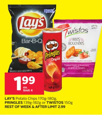 Lay's Potato Chips 170g-180g - Pringles 139g-182g or Twistos 150g