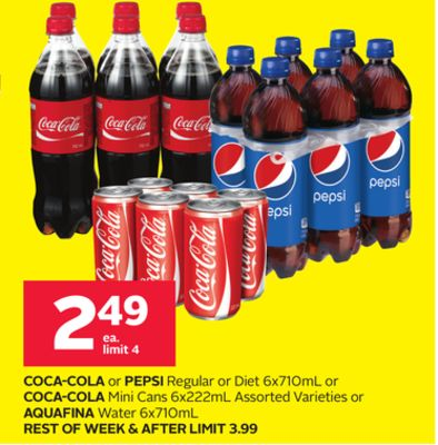 Coca-cola or Pepsi Regular or Diet 6x710ml or Coca-cola Mini Cans 6x222ml Assorted Varieties or Aquafina Water 6x710ml