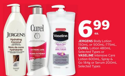 Jergens Body Lotion 150ml or 500ml-775ml - Curel Lotion 480ml or Vaseline Intensive Care Lotion 600ml - Spray & Go 184g or Serum 200ml