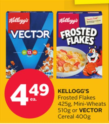 Kellogg's Frosted Flakes 425g - Mini-wheats 510g or Vector Cereal 400g