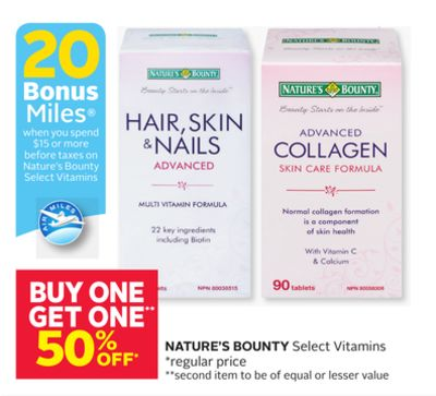 Nature's Bounty - 20 Bonus Air Miles Reward Miles