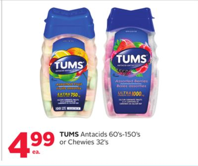 Tums Antacids 60's-150's or Chewies 32's