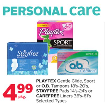 Playtex Gentle Glide - Sport or O.b. Tampons 18's-20's - Stayfree Pads 14's-24's or Carefree Liners 36's-61's