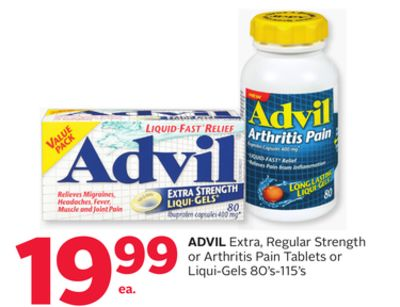 Advil Extra - Regular Strength or Arthritis Pain Tablets or Liqui-gels 80's-115's