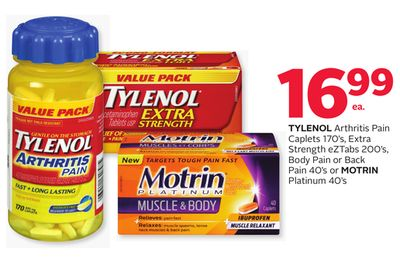 Tylenol Arthritis Pain Caplets 170's - Extra Strength Eztabs 200's - Body Pain Or Back Pain 40's Or Motrin Platinum 40's