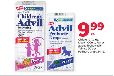 Children's Advil Liquid 100ml - Junior Strength Chewable Tablets 20's or Pediatric Drops 24ml